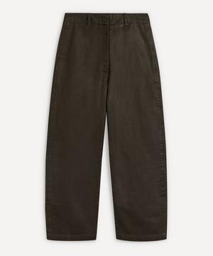 Coated Denim Curved Trousers