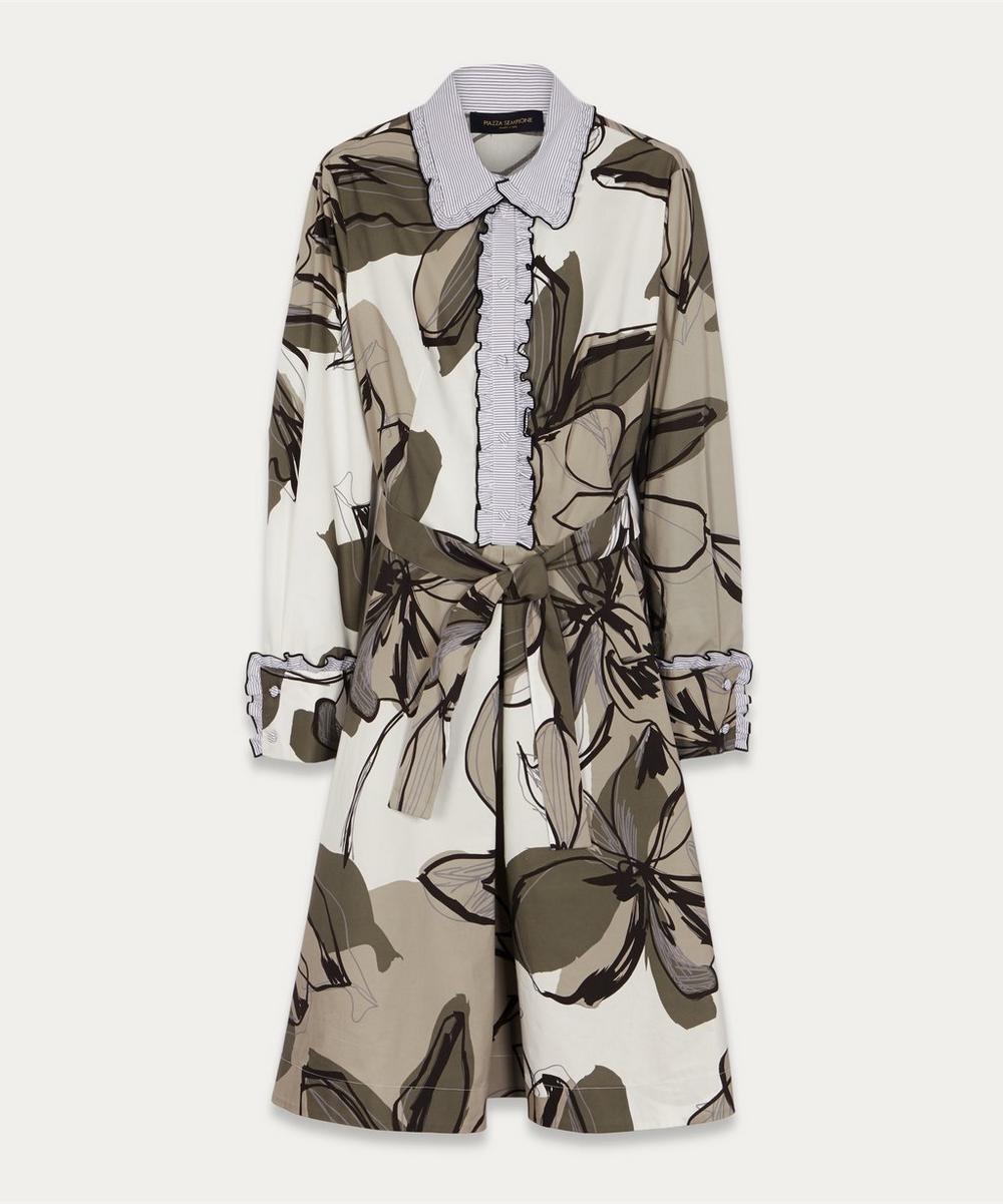 Piazza Sempione - Floral Stripe Cotton Shirt-Dress