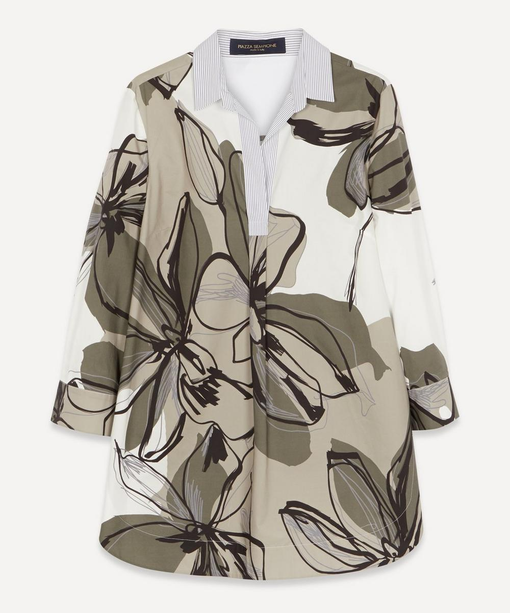 Piazza Sempione - Floral Stripe Cotton Shirt