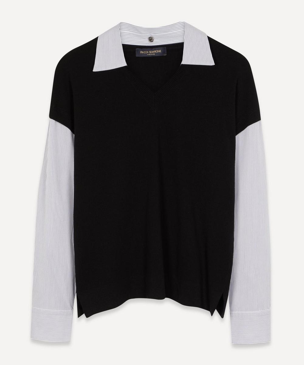 Piazza Sempione - Contrast Shirt V-Neck Knit