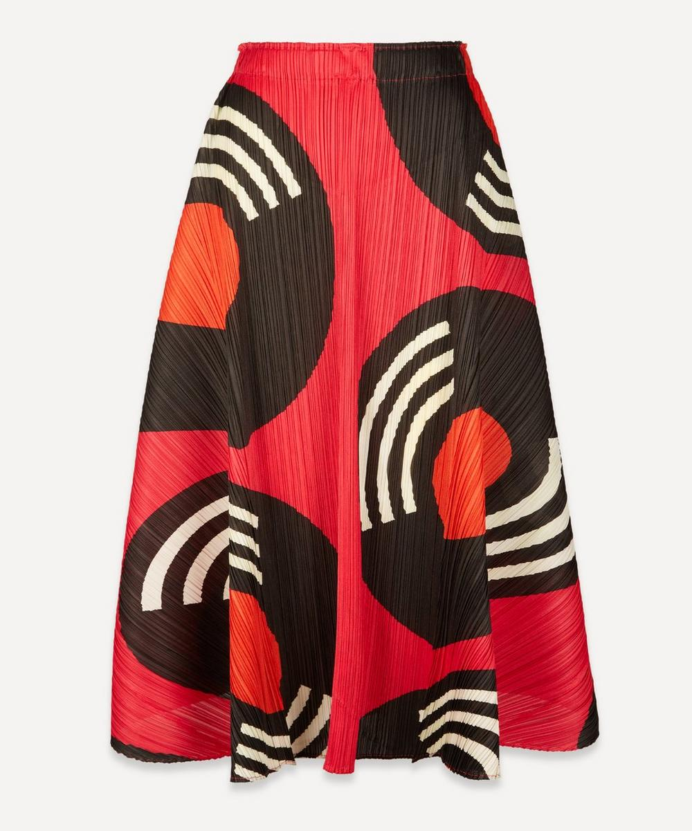 Pleats Please Issey Miyake - Record-Print Pleated Midi-Skirt