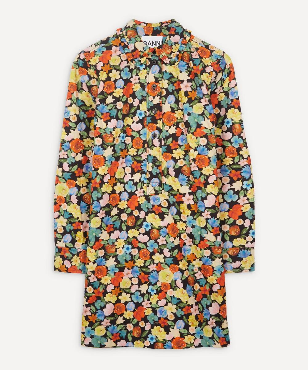 Ganni - Printed Cotton Poplin Frill Dress