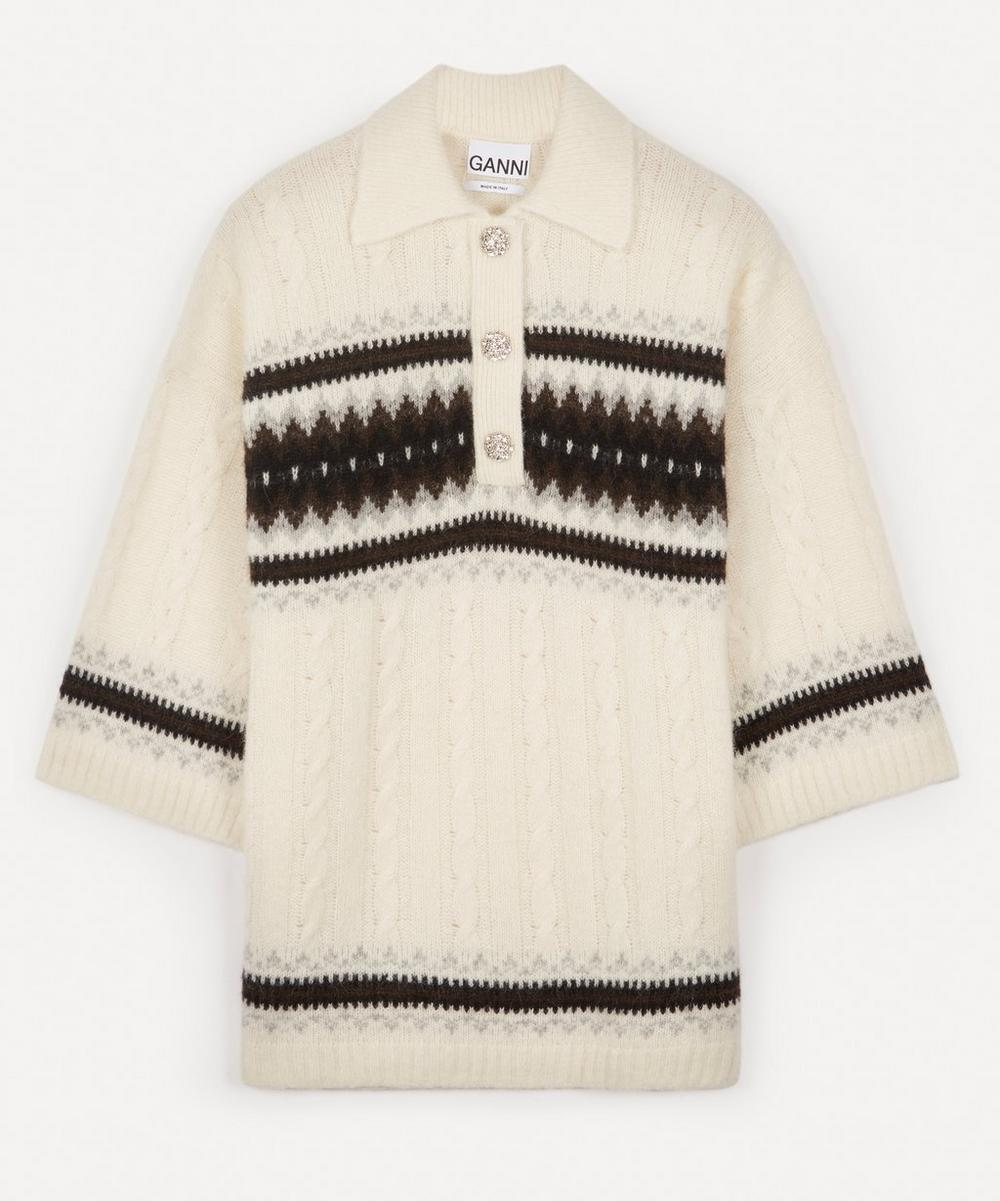 Ganni - Alpaca-Blend Cable-Knit Polo-Shirt