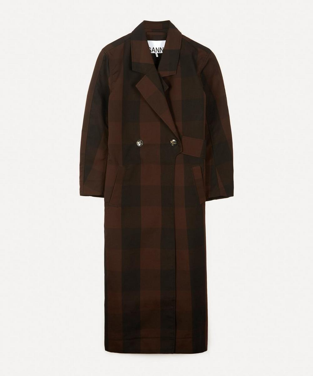 Ganni - Double-Breasted Cotton-Blend Belted Coat