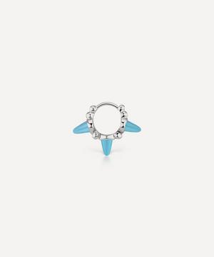6.5mm Triple Short Turquoise Spike Granulated Hoop Earring