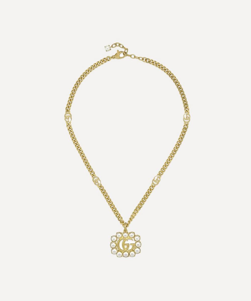 Gucci - Gold-Tone Faux Pearl Double G Pendant Necklace