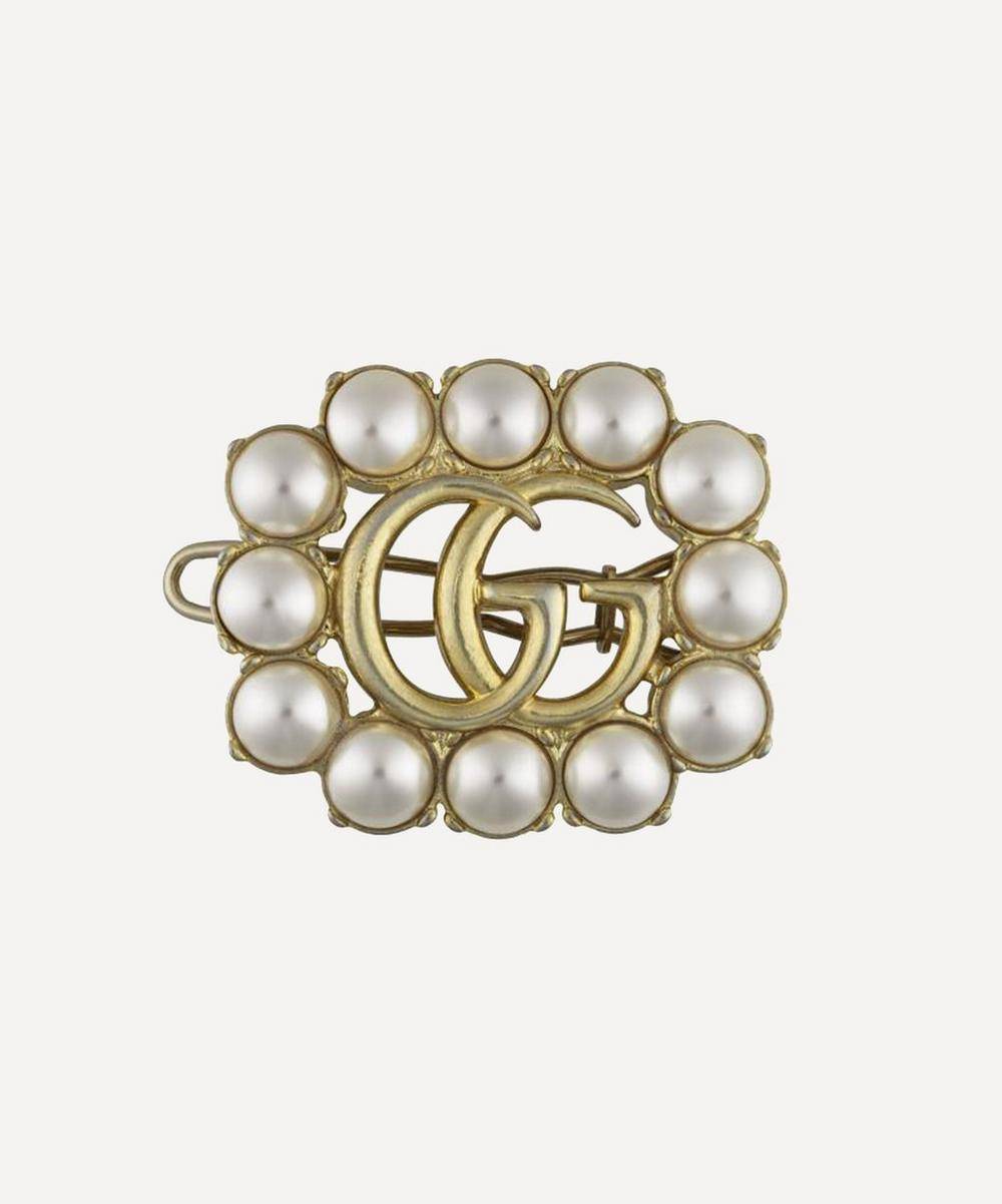 Gucci - Gold-Tone Faux Pearl Double G Hair Clip