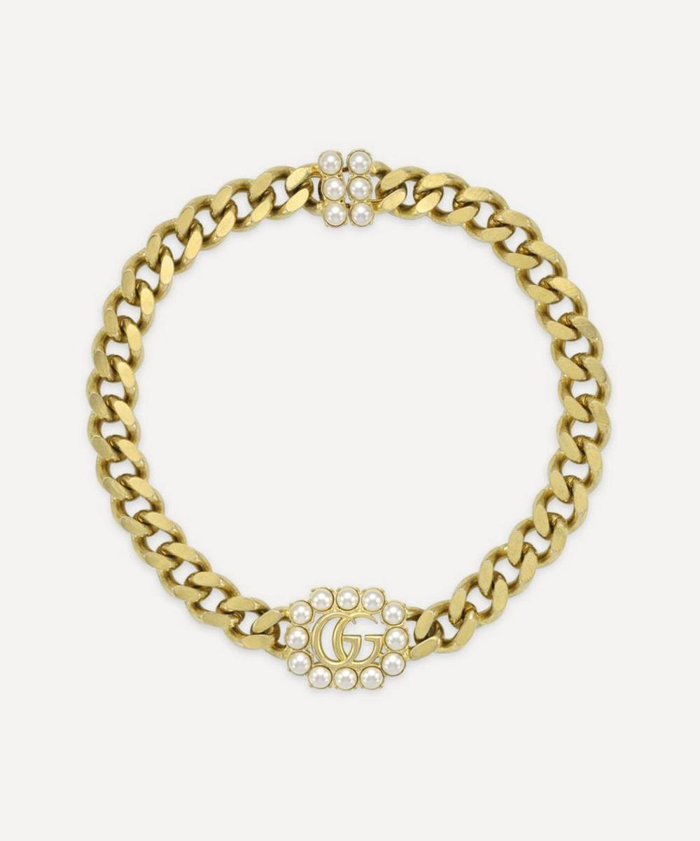 Gucci - Gold-Tone Faux Pearl Double G Necklace