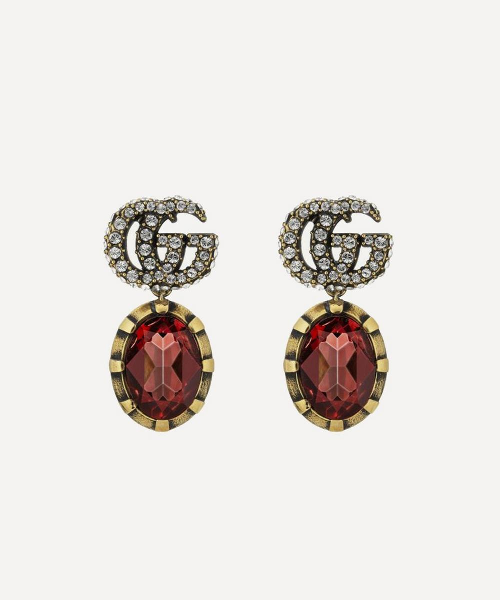 Gucci - Double G Marmont Crystal Pendant Earrings