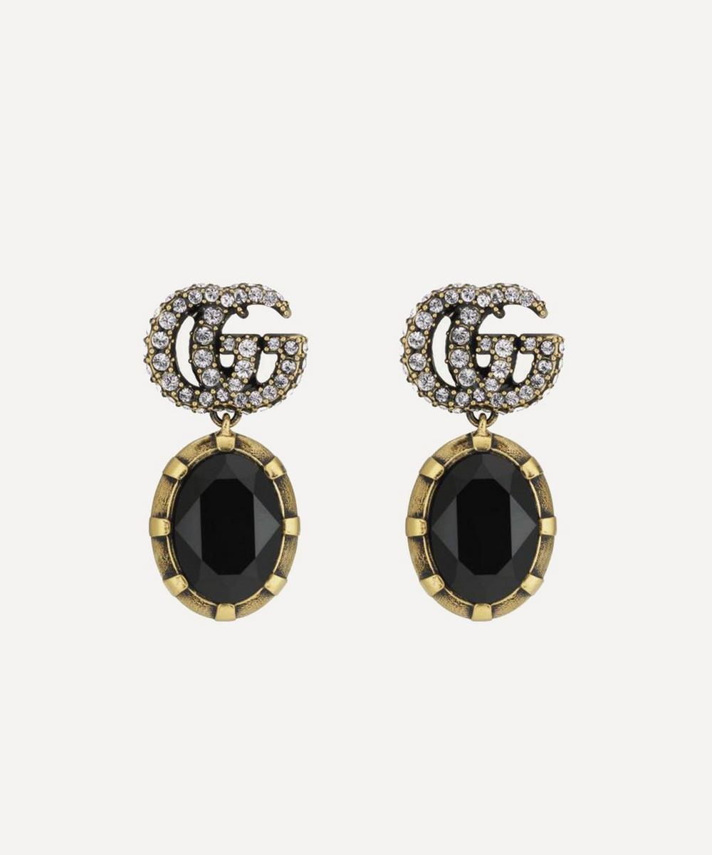 Gucci - Double G Marmont Crystal Pendant Clip-On Earrings