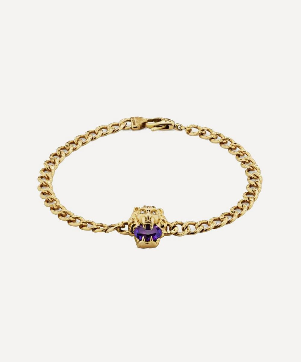 Gucci - Gold Amethyst and Diamond Lion Head Bracelet