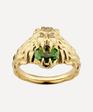 Gold Chrome Diopside and Diamond Lion Head Ring