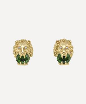 Gold Chrome Diopside and Diamond Lion Head Stud Earrings