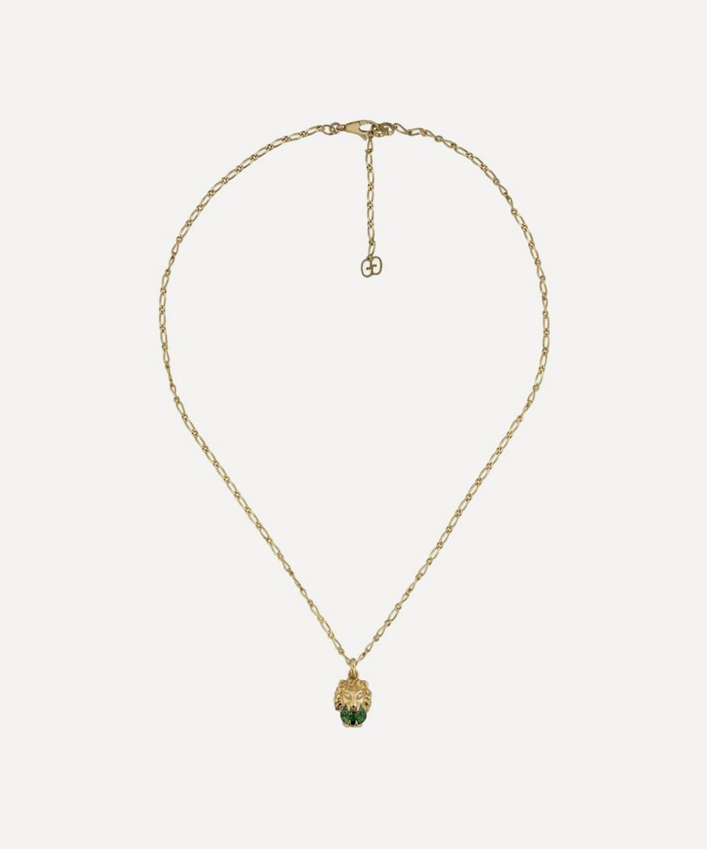 Gucci - Gold Chrome Diopside and Diamond Lion Head Pendant Necklace