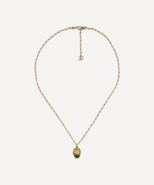 Gold Chrome Diopside and Diamond Lion Head Pendant Necklace