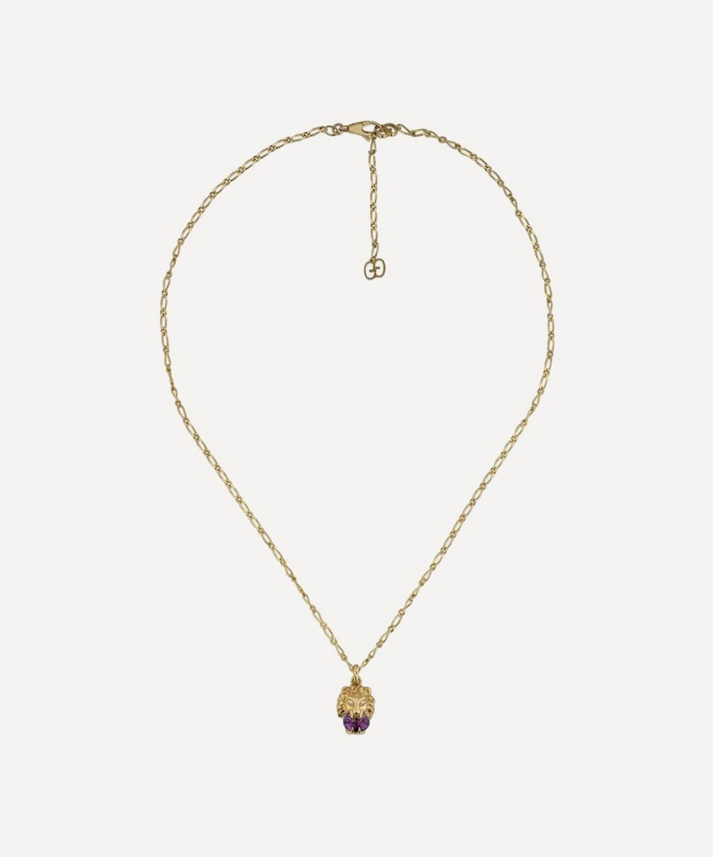 Gucci - Gold Amethyst and Diamond Lion Head Pendant Necklace