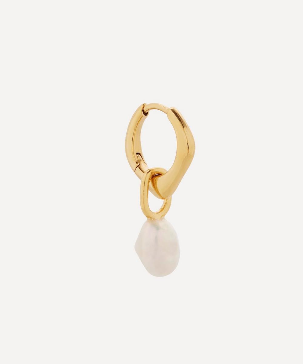 Maria Black - Gold-Plated Vento Pearl Huggie Hoop Earring