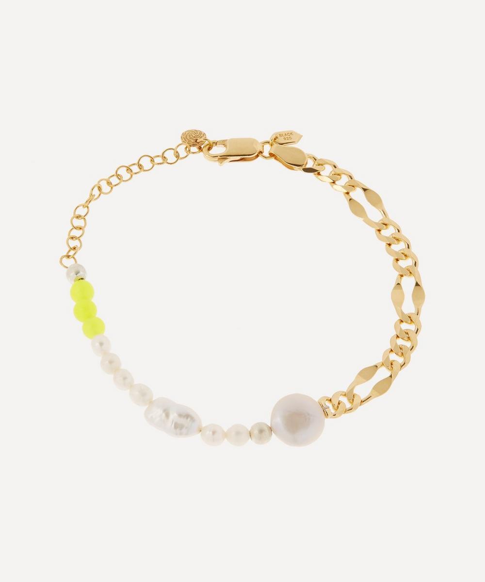 Maria Black - Gold-Plated Positano Pearl and Yellow Quartz Beaded Chain Bracelet