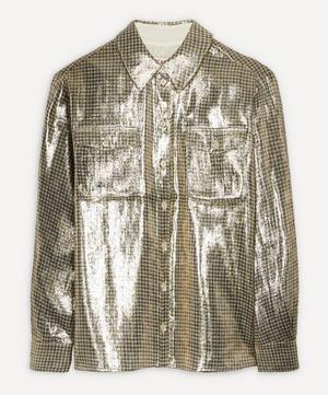 Metallic Check Silk-Blend Shirt