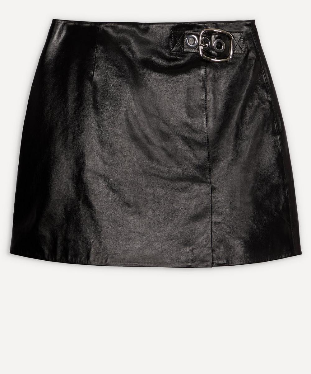 ALEXACHUNG - Buckle Leather Mini-Skirt