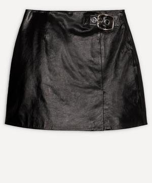 Buckle Leather Mini-Skirt