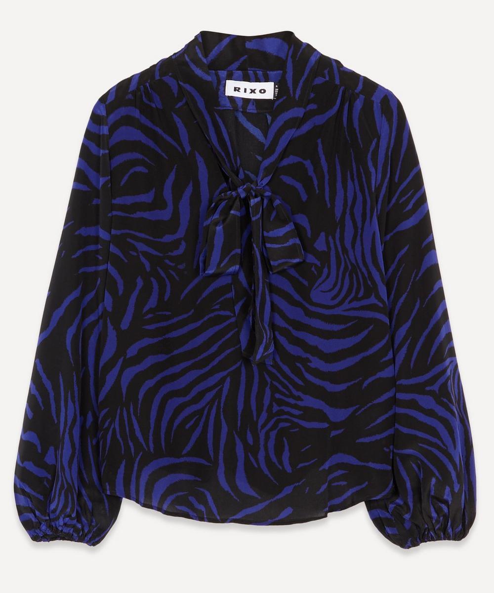 RIXO - Moss Zebra Silk Blouse