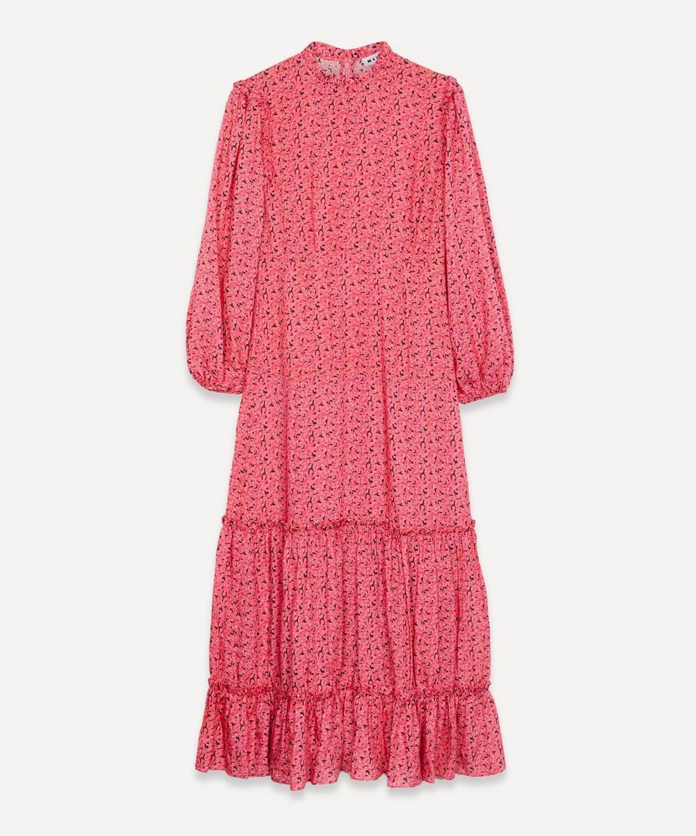 RIXO - Becky High-Neck Tiered Midi-Dress