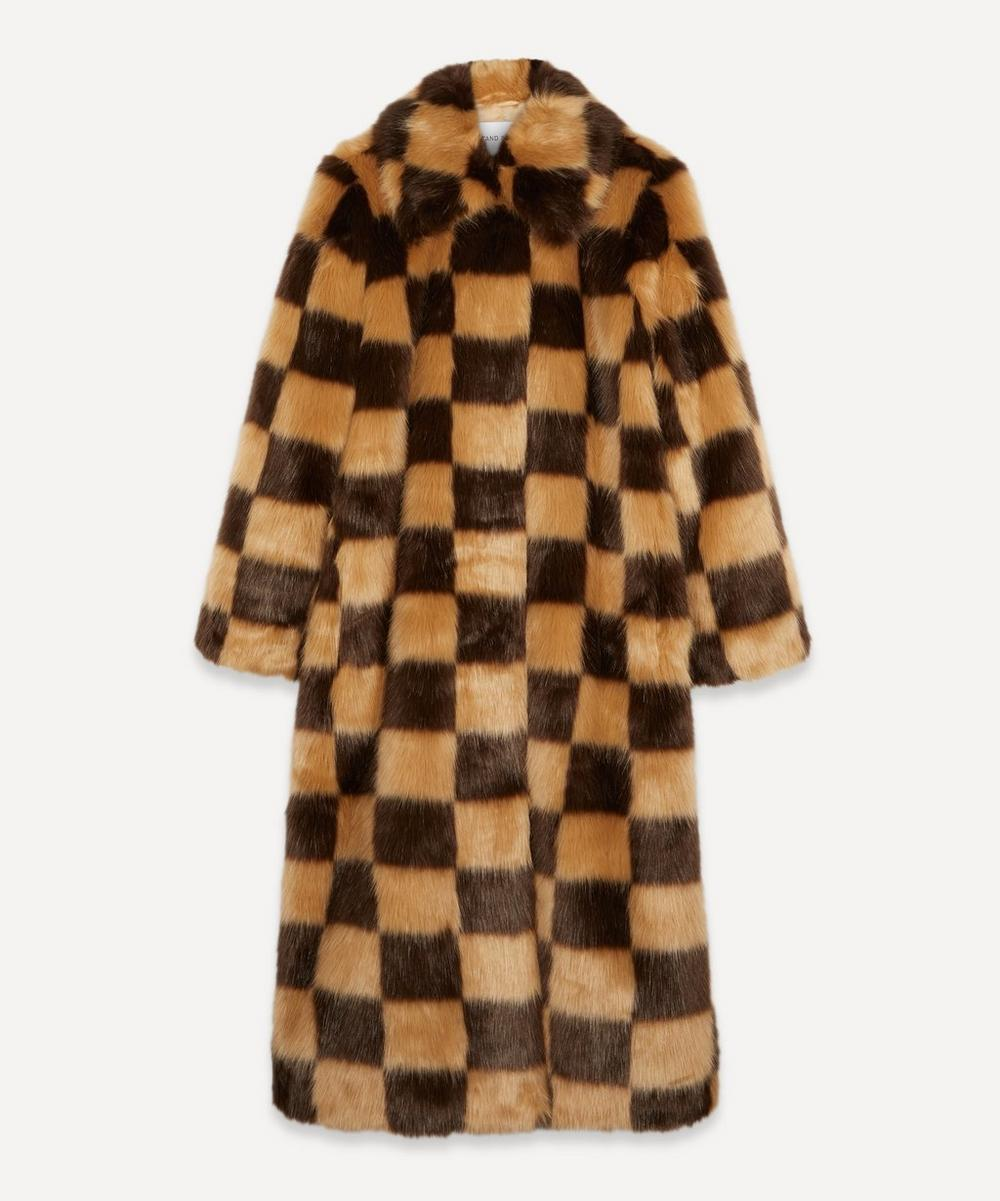 STAND STUDIO - Nino Faux-Fur Checked Coat
