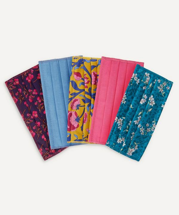 Liberty - Floral Print and Block Colour Upcycled Tana Lawn™ Cotton Face Coverings Set of Five