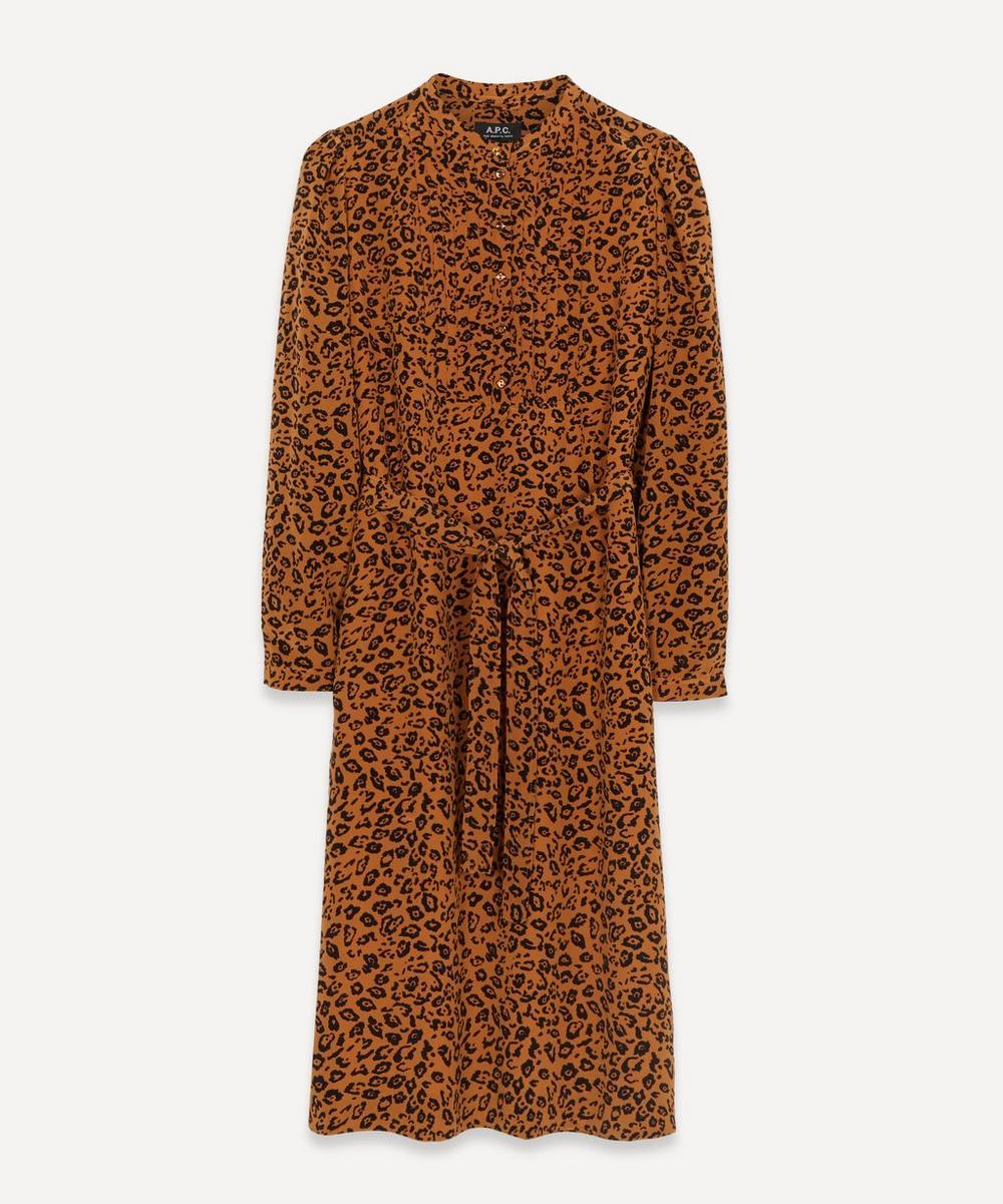 A.P.C. - Lio Leopard Print Belted Midi Dress
