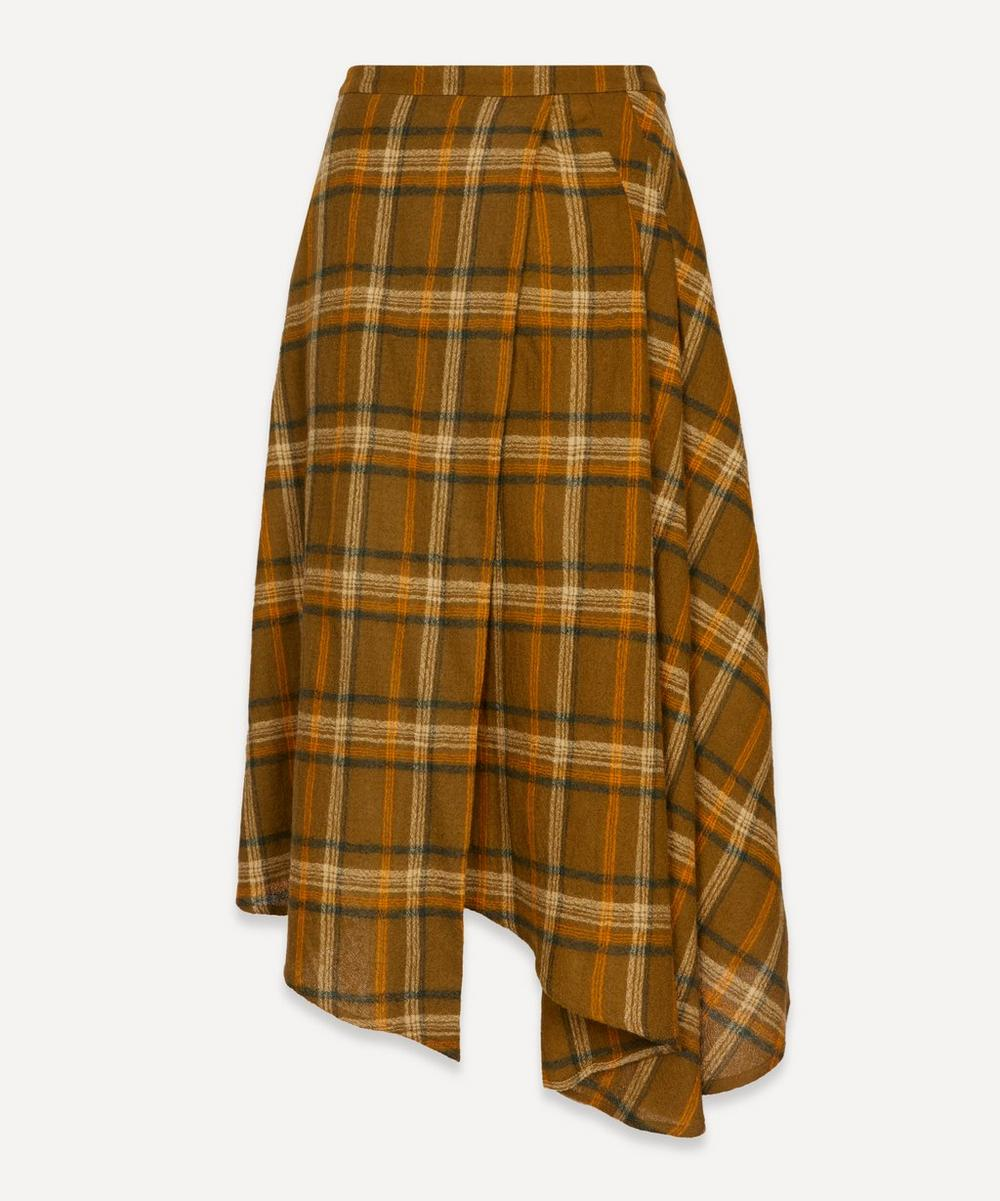 King & Tuckfield - Checked Wool Asymmetric Skirt