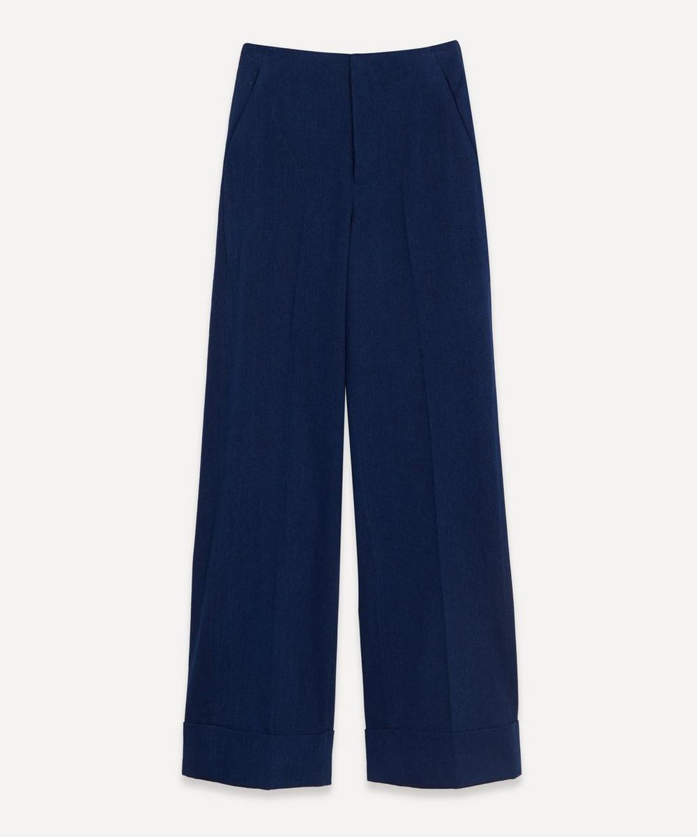 King & Tuckfield - Flat Front Cuffed Cotton Trousers