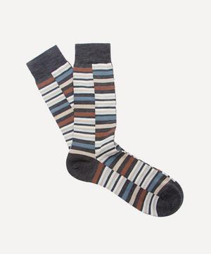 Brockley Broken Stripe Merino Wool-Blend Socks