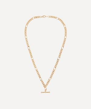 Gold-Plated 1990s T-Bar Figaro Chain Necklace