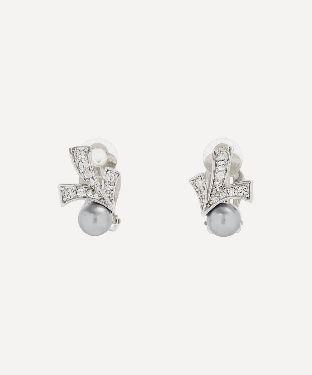 Susan Caplan Vintage - Rhodium-Plated 1980s Nina Ricci Crystal and Faux Pearl Art Deco Clip-On Earrings