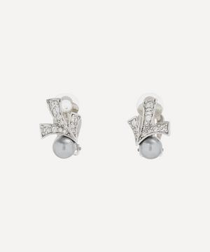 Rhodium-Plated 1980s Nina Ricci Crystal and Faux Pearl Art Deco Clip-On Earrings