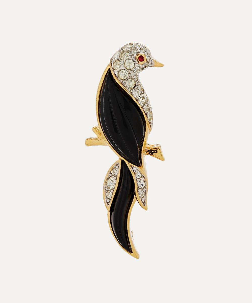 Susan Caplan Vintage - Gold-Plated 1990s D'Orlan Lucite and Crystal Bird Brooch