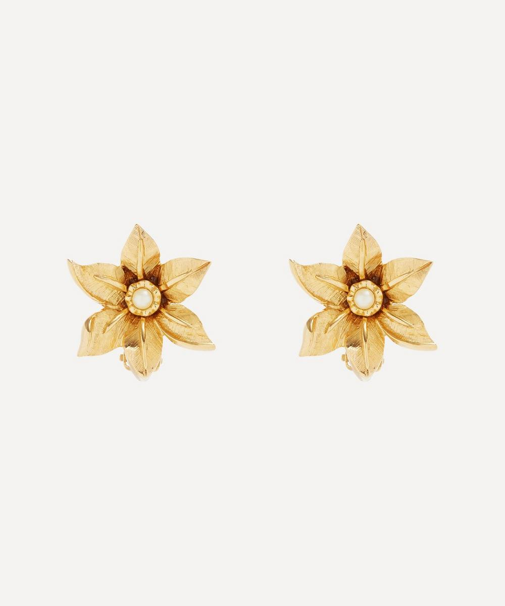 Susan Caplan Vintage - Gold-Plated 1980s Nina Ricci Faux Pearl Flower Clip-On Earrings