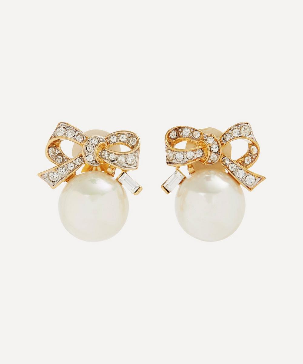 Susan Caplan Vintage - Gold-Plated 1990s Nina Ricci Crystal and Faux Pearl Bow Clip-On Earrings