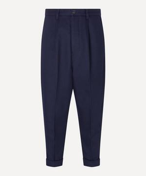 Carrot-Fit Turn-Up Wool-Blend Trousers