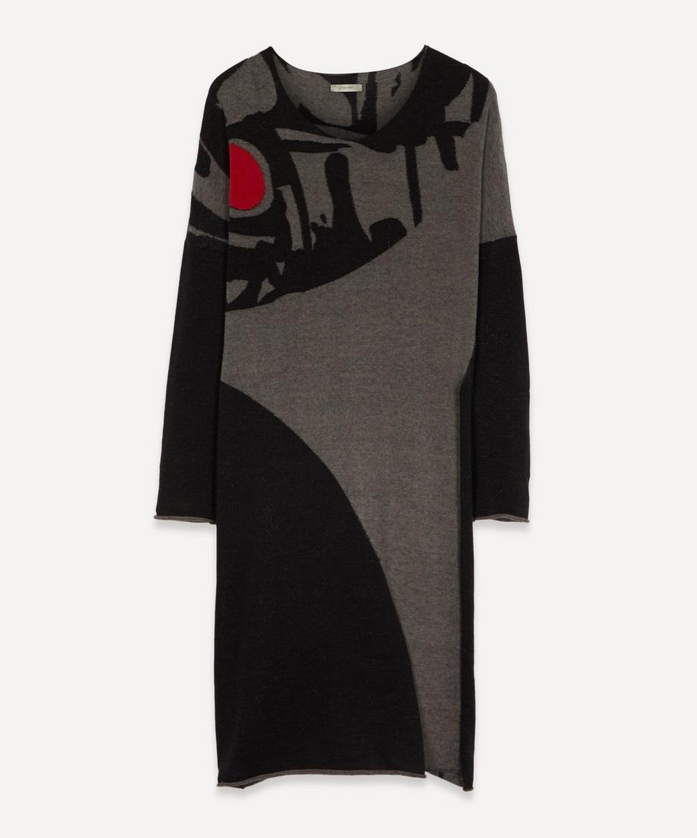 Crea Concept - Long-Sleeved Round Abstract Wool Dress