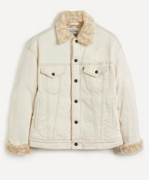 Oversized Fleece-Lined Trucker Jacket