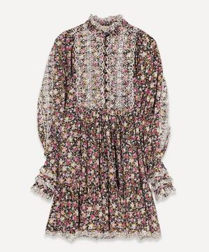 Cotton Slub Flowers Shift Dress