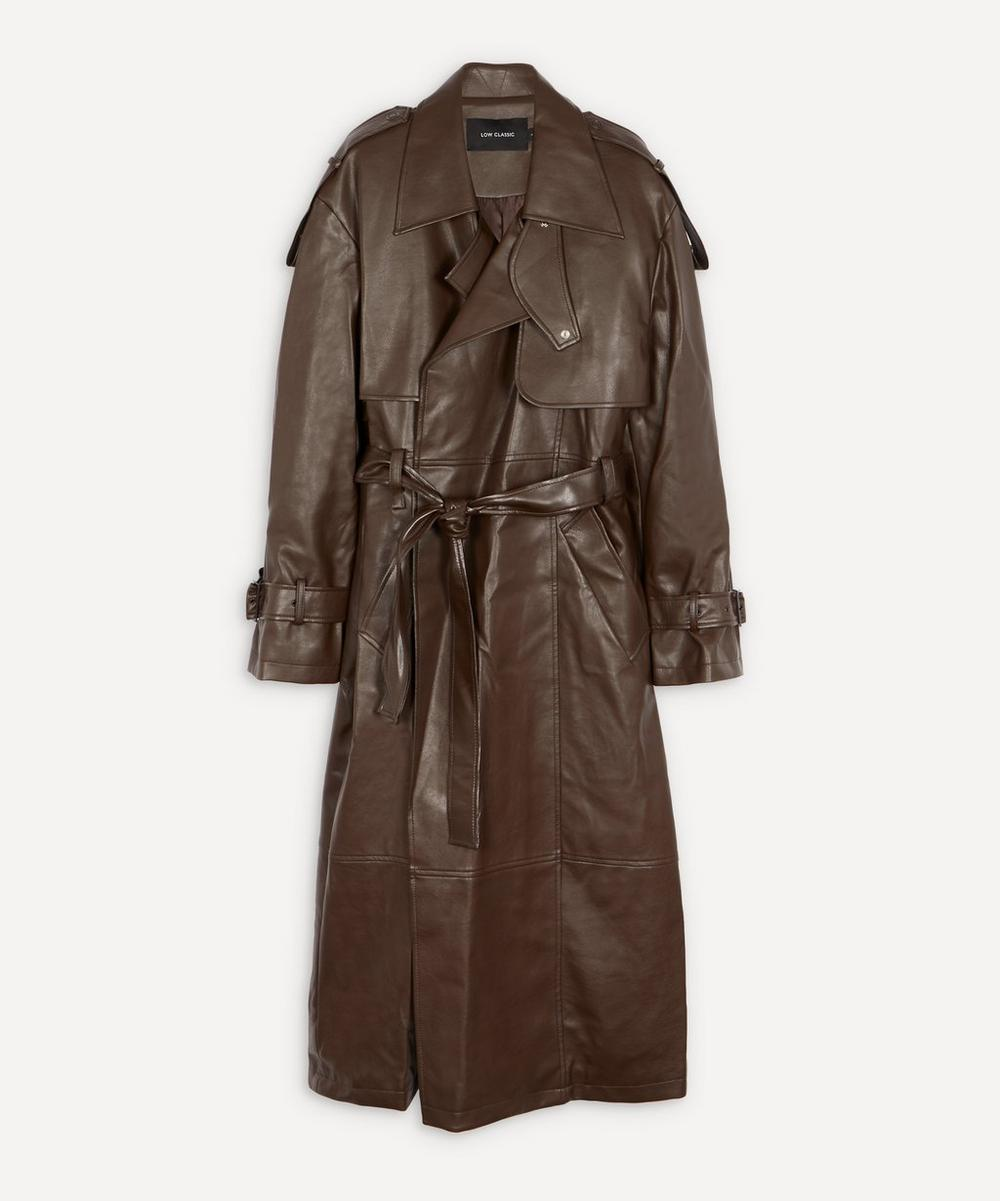 LOW CLASSIC - Belted Faux-Leather Trench Coat