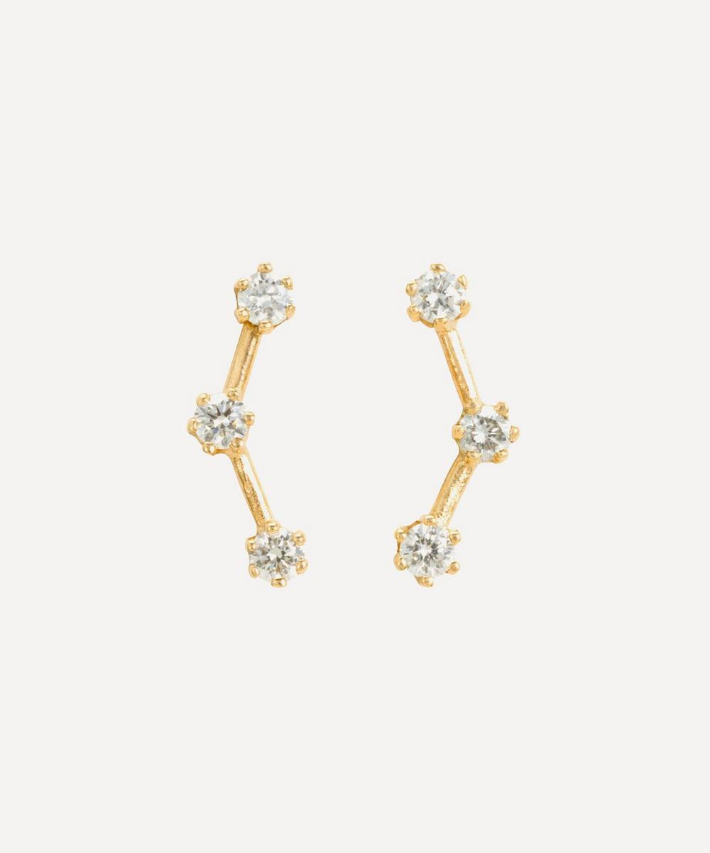 Satomi Kawakita - Gold Triple Diamond Stud Earrings