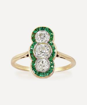 Art Deco Emerald and Diamond Plaque Ring