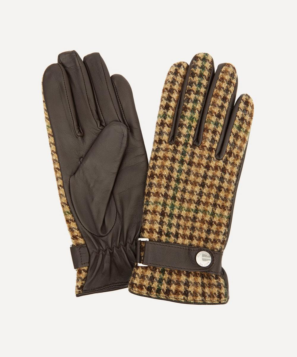 Dents - Margaret Leather and Abraham Moon Wool Tweed Gloves