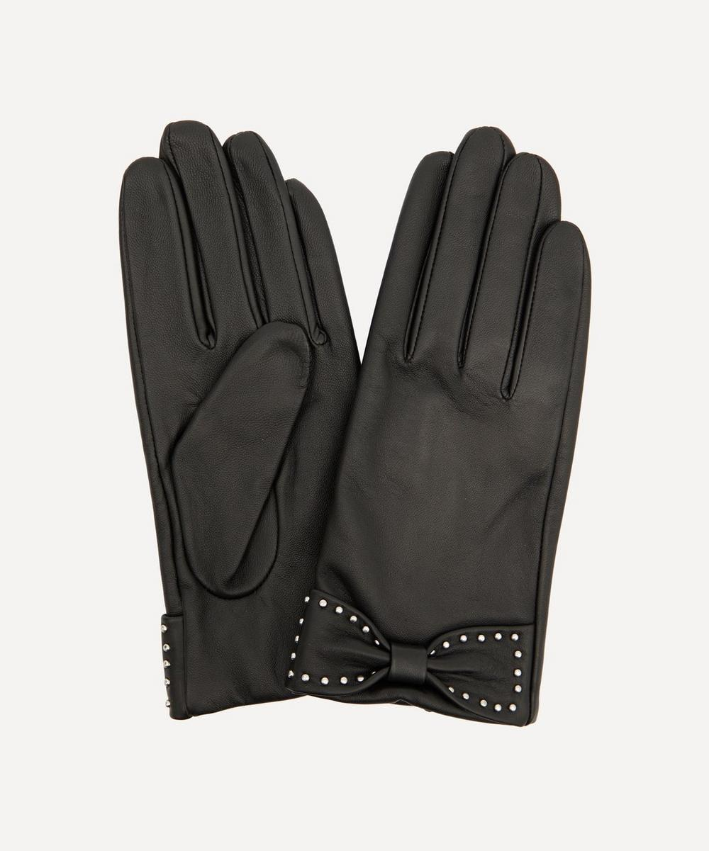 Dents - Sophia Studded Bow Touchscreen Leather Gloves