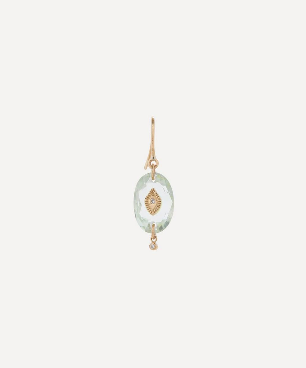 Pascale Monvoisin - Gold Souad N°2 Diamond and Green Amethyst Drop Earring