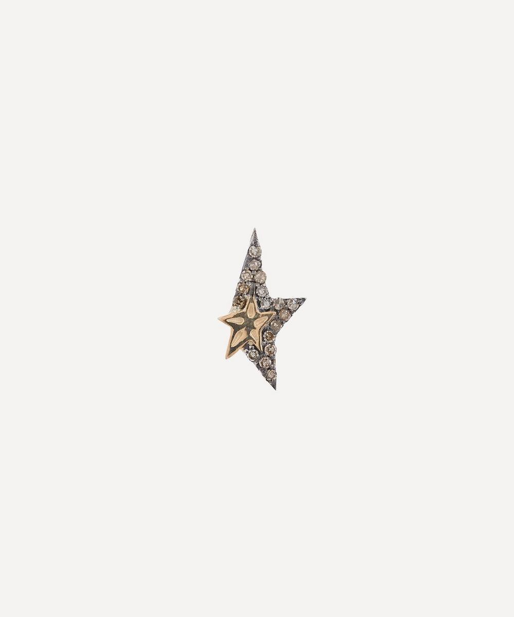 Pascale Monvoisin - Gold and Silver Varda Diamond Star Stud Earring